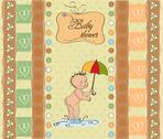 Stock Illustration of new baby announcement card