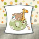 Stock Illustration of new baby announcement card with bag and same toys
