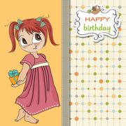 Stock Illustration of pretty young girl she hide a gift