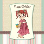 Pretty young girl she hide a gift Stock Illustration
