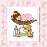 baby girl on on weighing scale - stock illustration