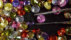 Selecting Pink Cubic Zirconia Gemstone Stock Footage