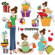 Stock Illustration of girls at shopping items set on white background
