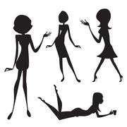 three cute fashion girls, black and white vector illustration isolated on whi - stock illustration