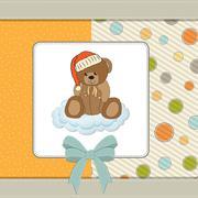 Customizable greeting card with teddy bear Stock Illustration