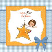 Stock Illustration of new star it's born.welcome baby card