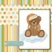 Baby shower card with sleepy teddy bear Stock Illustration