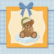 customizable greeting card with teddy bear - stock illustration