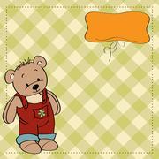 Customizable childish card with funny teddy bear Stock Illustration