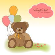 customizable greeting card with teddy bear - stock illustration