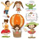 Very happy people, items set in vector format isolate on white background Stock Illustration