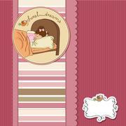 new baby girl arrived - stock illustration