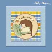 new baby boy arrived - stock illustration