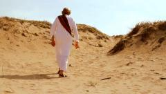 Desert Scene as Man Walks HD Stock Footage