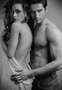 art photo of attractive sensual couple - stock photo