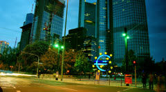Euro sign at European Central Bank, Frankfurt am Main, Germany - stock footage