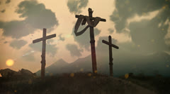 Crucifixion Cross on Calvary hill Stock Footage