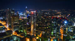 Aerial in night with Frankfurt am main,time lapse - stock footage