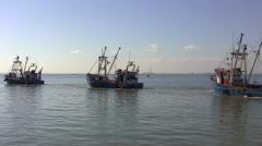 Leigh On Sea Fishing Trawler 2 Long Shot Stock Footage