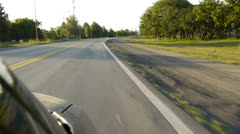 Point of View, day country side route driving. Stock Footage
