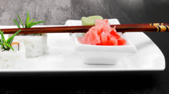 Japanese Cuisine - California Roll made of Salmon Stock Footage