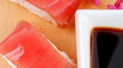 Set of Nigiri sushi topped with raw Tuna (maguro) Stock Footage