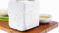 Dairy product : fresh raw white soft greek feta cheese Stock Footage