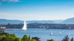Timelapse of the Geneva water fountain in switzerland - Jet d'eau de Geneve Stock Footage