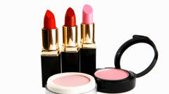 Lipstick and powder Stock Footage