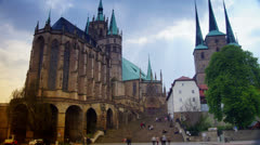 The Catholic Erfurt Cathedral, time-lapse Stock Footage
