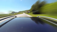 Timelapse view of car on the speed at the beautiful road with mountains Stock Footage