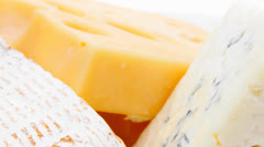 Various types of solid french cheese Stock Footage