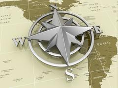 Stock Illustration of navigation sign or compass on political map.