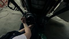 Forklift loading the cargo Stock Footage