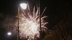 Fireworks on the street at night Stock Footage