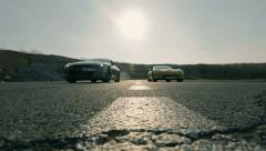 Two cars chase at high speed Stock Footage