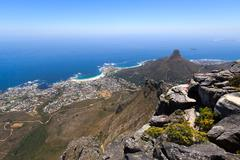 Lion's Head and Camps Bay coastline view from Table Mountain - stock photo