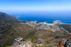 Camps Bay coastline view from Table Mountain - stock photo