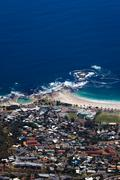 Camps Bay coastline view from Table Mountain Stock Photos