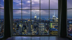 Empire State Building Manhattan Evening New York City View High Rise Window Stock Footage