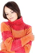 Brunette woman in wool sweater Stock Photos