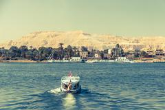 Waterscape at Nile near Luxor in Egypt Stock Photos