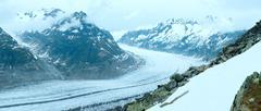 great aletsch glacier (bettmerhorn, switzerland) panorama. - stock photo