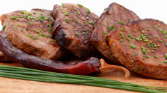 Fresh roasted red meat with thyme Stock Footage