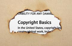 Copyright on paper hole Stock Photos