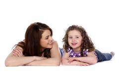 mother and daughter isolated on a white background - stock photo