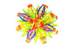 Magic transmutable big turn small ball multi-color flower shape connector int Stock Photos
