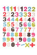Numbers 1 2 3 4 5 6 7 8 9 0 plus minus multiplication the division  symbols w Stock Photos
