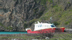 Boats in the patagonian fjords - stock footage