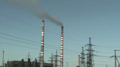 power plant and transmission line - stock footage